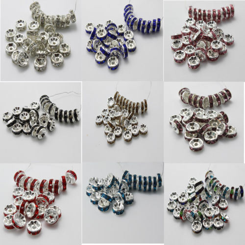 8mm 50Pcs Silver Plated Czech Crystal Spacer Rondelle Beads Charm Findings New