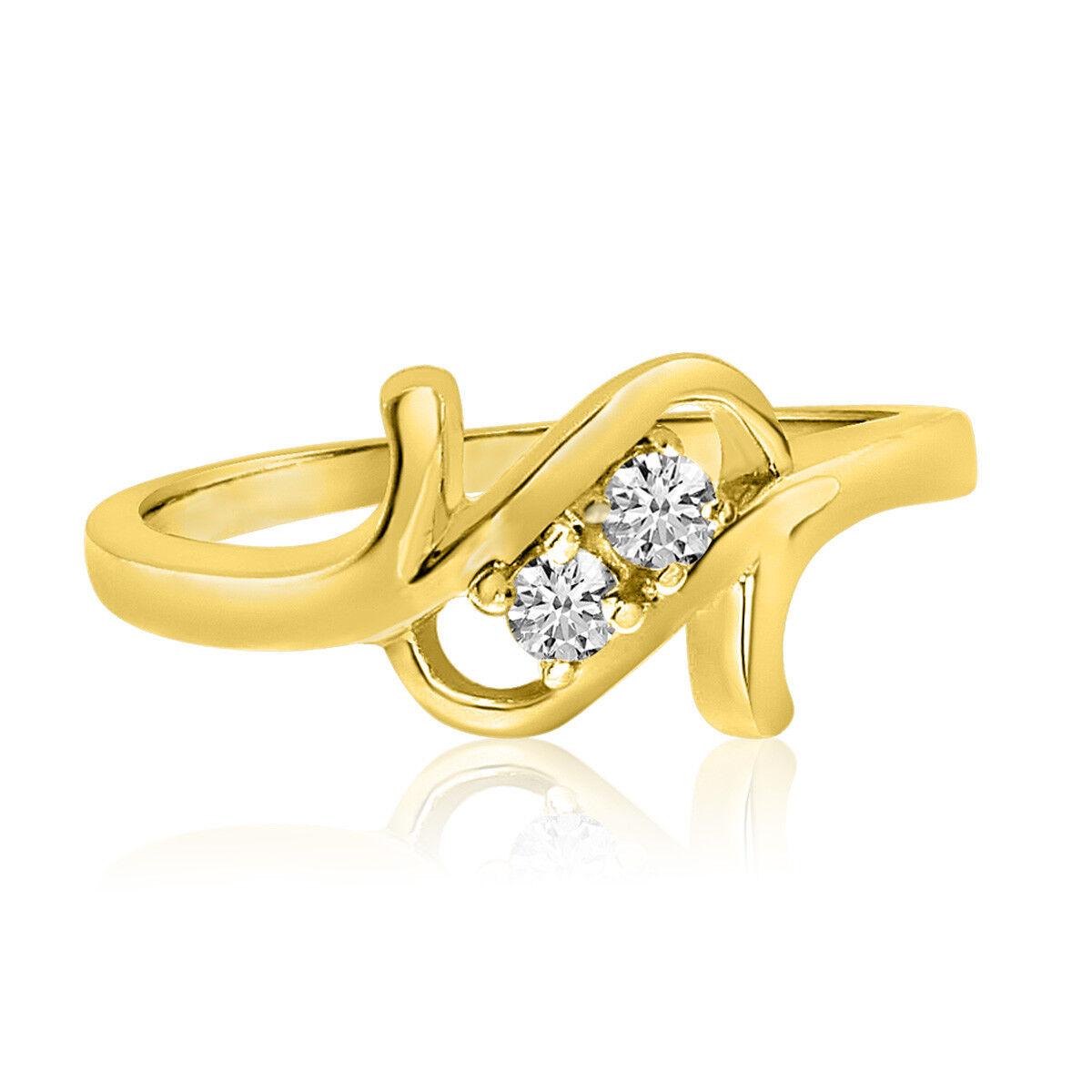 14K Yellow gold Twist Two-Stone Diamond Ring