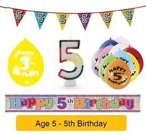 Image Is Loading AGE 5 Happy 5th Birthday Party Balloons Banners