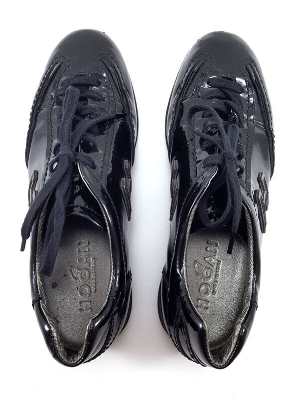 HOGAN INTERACTIVE Bleu Cuir Verni Mode Baskets Chaussures Femmes Taille Taille Taille UK 3 74619b