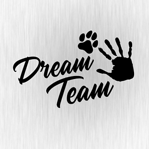 Dream-Team-Hundesport-Agility-Pfote-Schwarz-Auto-Vinyl-Decal-Sticker-Aufkleber