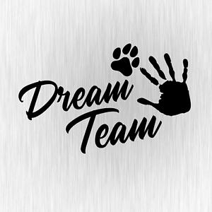 Dream-Team-Hundesport-Agility-Pfote-Schwarz-Auto-Vinyl-Decal-Sticker-Aufkleber