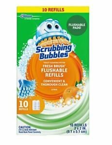 NIB-Scrubbing-Bubbles-Fresh-Brush-Toilet-Cleaning-System-Flushable-Refill-10-ct