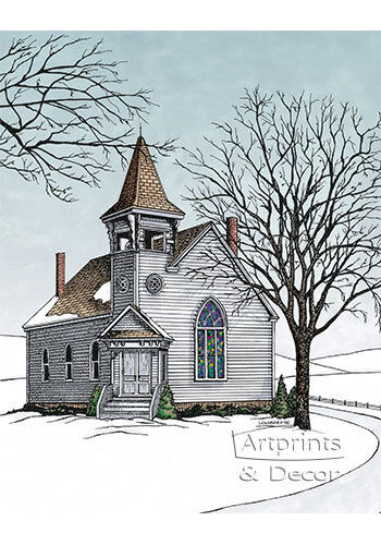 Art Print of Vintage Art The Old Country Church by Terry Lombard