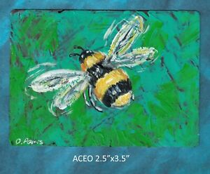 Original-ACEO-Bumble-Bee-miniature-acrylic-painting-not-framed