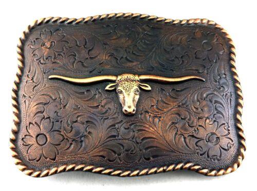 WESTERN TEXAS LONGHORN STEER BULL TROPHY FOR LEATHER COWBOY RODEO BELT BUCKLE