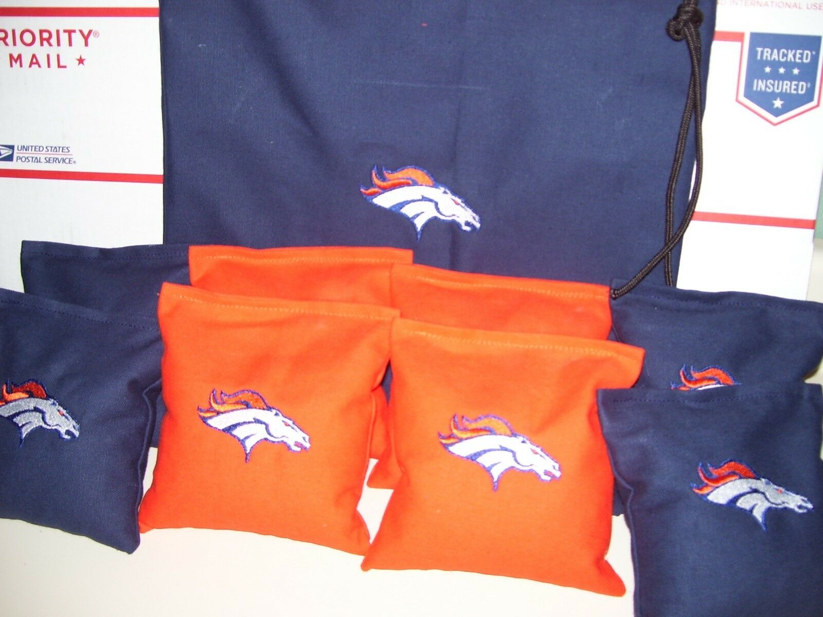 Denver Broncos Embroidered Cornhole corn hole set of 8 Bags  W Storage Bag  no.1 online