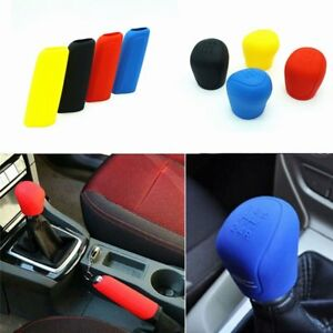 1set Manual Car Hand Brake Case Silicone Gear Head Shift Knob Cover Blue~ NC