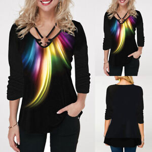 Women-039-s-Long-Sleeve-V-Neck-T-Shirt-Ladies-Casual-Loose-Printed-Blouse-Tunic-Tops