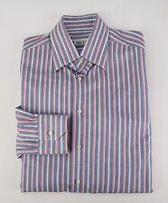 $795 ZILLI Blue & Pink Striped Handmade Hidden Buttondown Dress Shirt 15.75 40