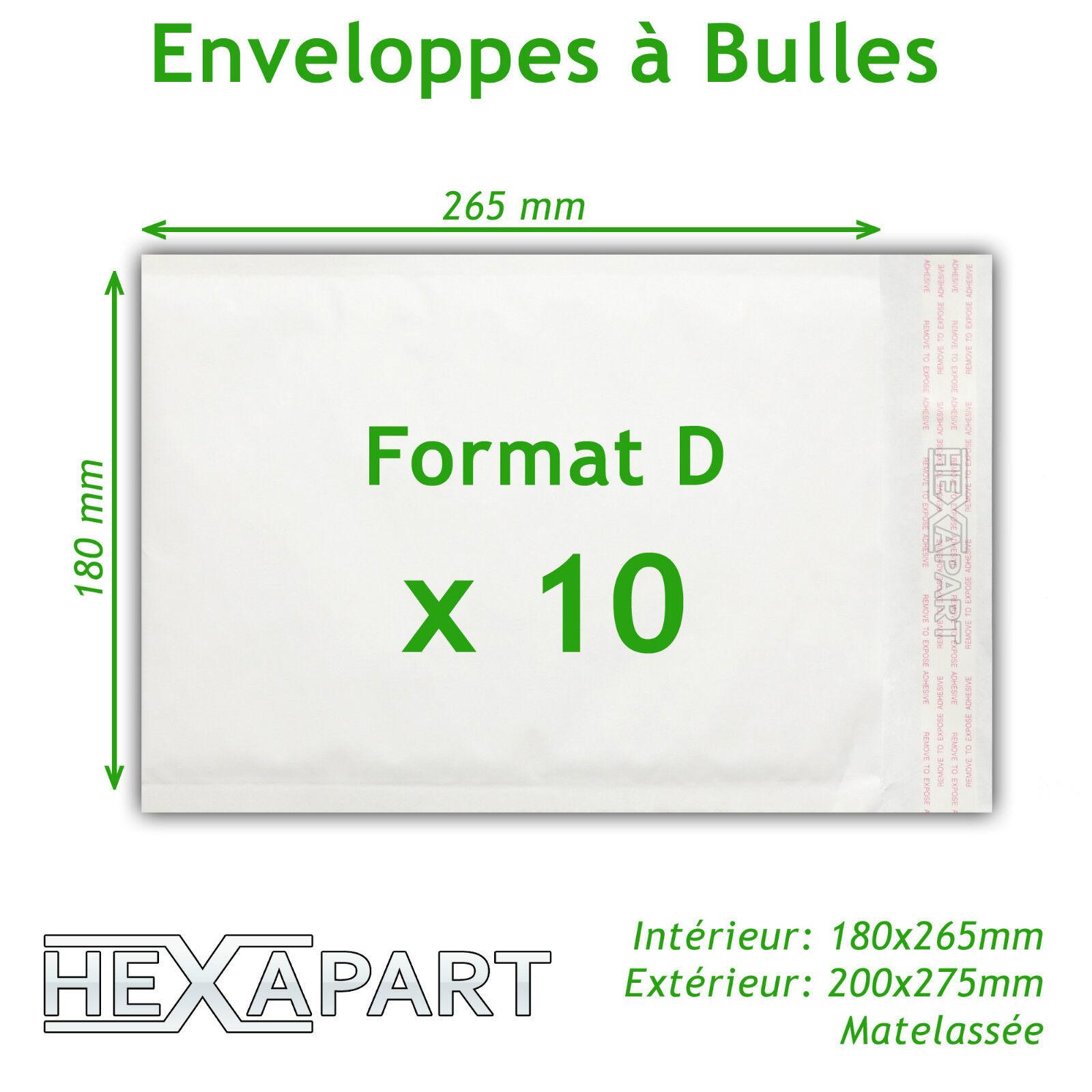 Enveloppe blanche à bulles d'air d'air d'air pochettes matelassées d'expedition 180x265 mm 877361