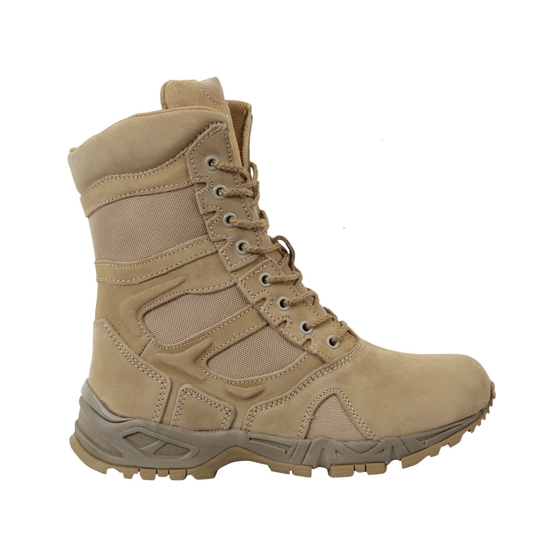 Combat Boots Desert Tan Side Zipper Deployment Rothco 5357