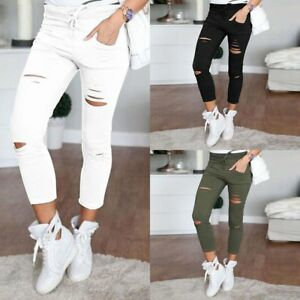 Fashion-Women-Skinny-Ripped-Ninth-Pants-High-Waist-Holes-Stretch-Pencil-Trousers