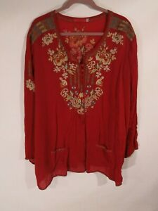 Johnny-Was-Womens-Plus-Size-2X-Embroidered-Tunic-Top-Pockets
