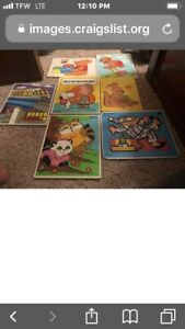 Lot-of-11-Vintage-Antique-Wooden-JigSaw-Puzzles-Skill-Toy-children-039-s-wood-toy-G