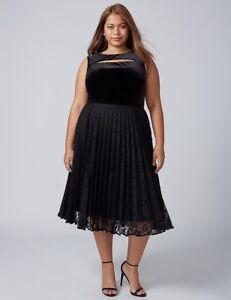 Lane Bryant Plus Black Velvet Pleated Midi Lace Cocktail Wedding