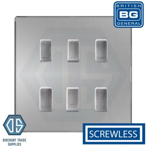 BG Brushed Steel Screwless Custom Grid Switch Panel Kitchen Appliance 6 Gang