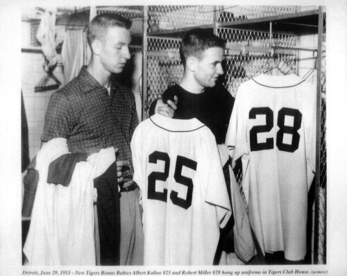 JUST DRAFTED TIGERS AL KALINE HALL OF FAMER ROBERT MILLERS  FIRST UNIFORMS 8x10