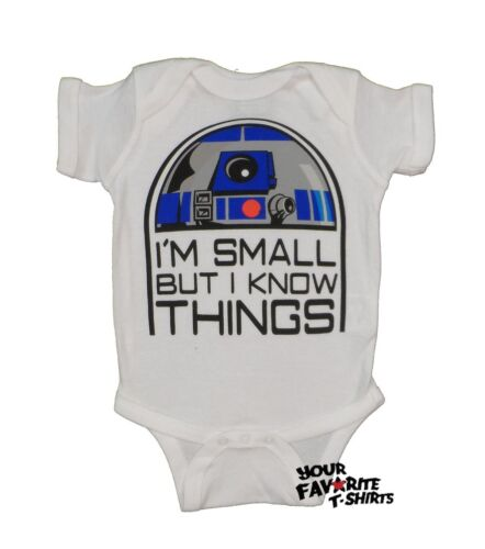 Star Wars Cute R2D2 I/'m Small But I Know Things Baby Infant Snapsuit