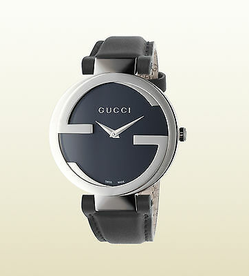 Gucci YA133301 Black Leather Strap Quartz Movement Swiss Made Sapphire Crystal