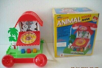 Casetta Animali A Salvadanaio + Telefono A Corda Anni '80