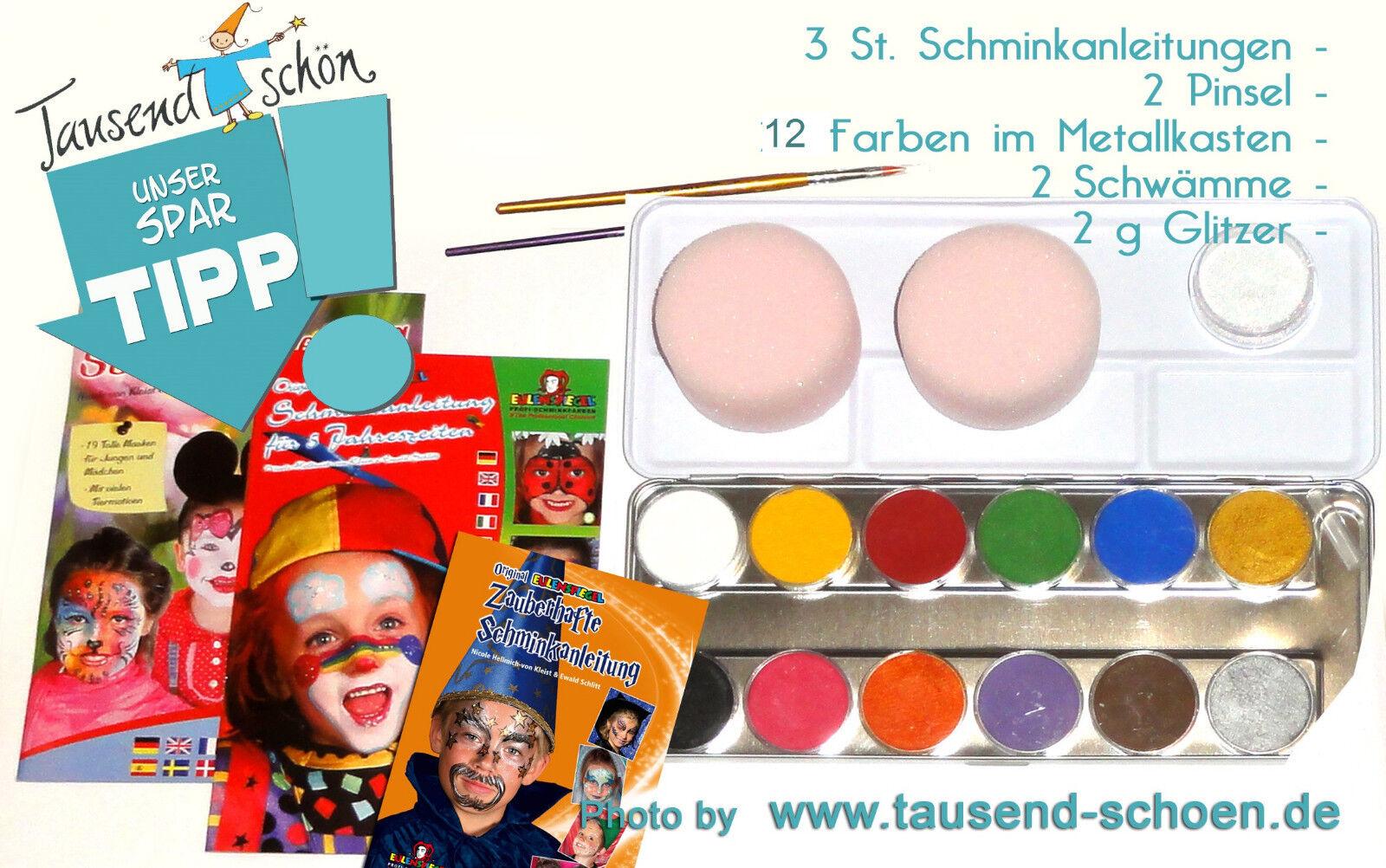 Set Glitzer Anleit. 12 Metallkasten Eulenspiegel Kinderschminke Schminkfarben