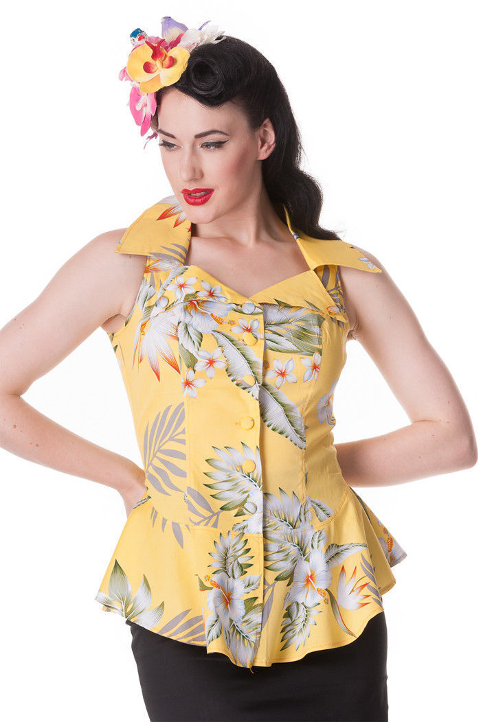 SIZE M 10-12 HELL BUNNY YELLOW  TOP  FREE POSTAGE