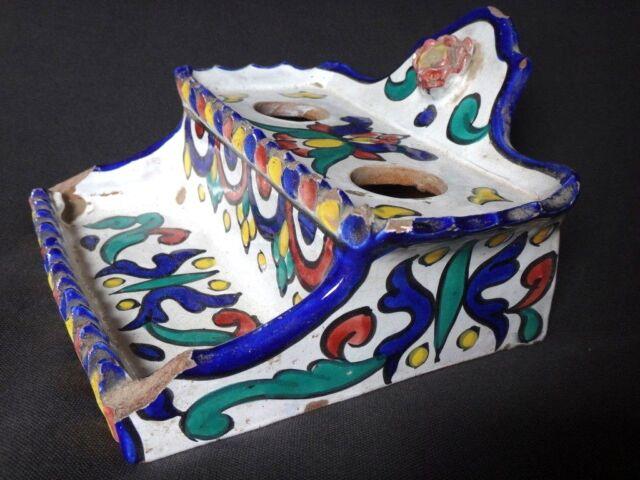 Ancien encrier enlumineur maroc orientalist inwell ceramic oriental