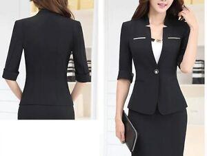 5c15c3a9203cd élégant Costume ensemble femme noir veste manches trois quart, jupe ...