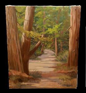 VINTAGE-ELMER-STEINMEYER-FOREST-LANDSCAPE-OIL-PAINTING-REDWOOD-TREES-CALIFORNIA