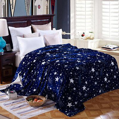 Soft Warm Plush Polyester Flannel Bedding Throw Sleep Blanket Flat Star Glow
