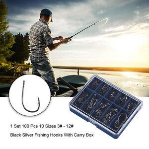 1 Set 100 Pcs 10 Sizes 3# - 12# Black Silver Fishing Hooks With Carry Box New BA