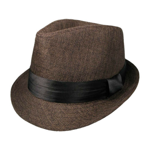 Mens UK High Quality Trilby Hat W//Black Fabric In Two Sizes 39284-9