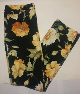 St-John-Sport-Jeans-Size-4-Womens-Floral-Pants-Black-Yellow-Stretch-Peony-Flower