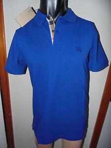 Burberry brit mens cobalt blue short sleeve nova check for Cobalt blue polo shirt