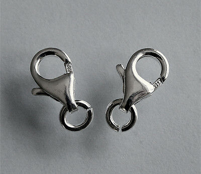 2 New Sterling 925 Silver Strong Lobster Claw Carabiner Trigger Clasp With Ring