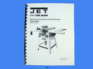 Jet jwts 10 table saw operator instruction parts manual 175 image is loading jet jwts 10 table saw operator instruction amp keyboard keysfo Choice Image