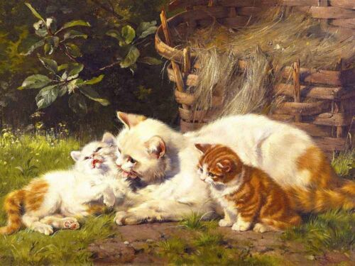 Best Gift Home Decor cats red kittens Oil Painting Picture Printed On Canvas