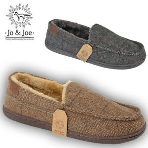 MENS-MOCCASINS-LOAFERS-TARTAN-TEXTILE-SHEEPSKIN-FUR-PEAKY-SLIPPERS-WINTER-SHOES