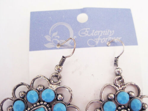 Natural Turquoise Chaco Canyon Silver Plate Earrings