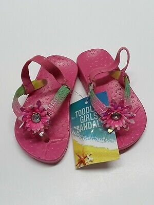 Toddler Girls Jelly Thong Pink With Flower slip on Sandals ...