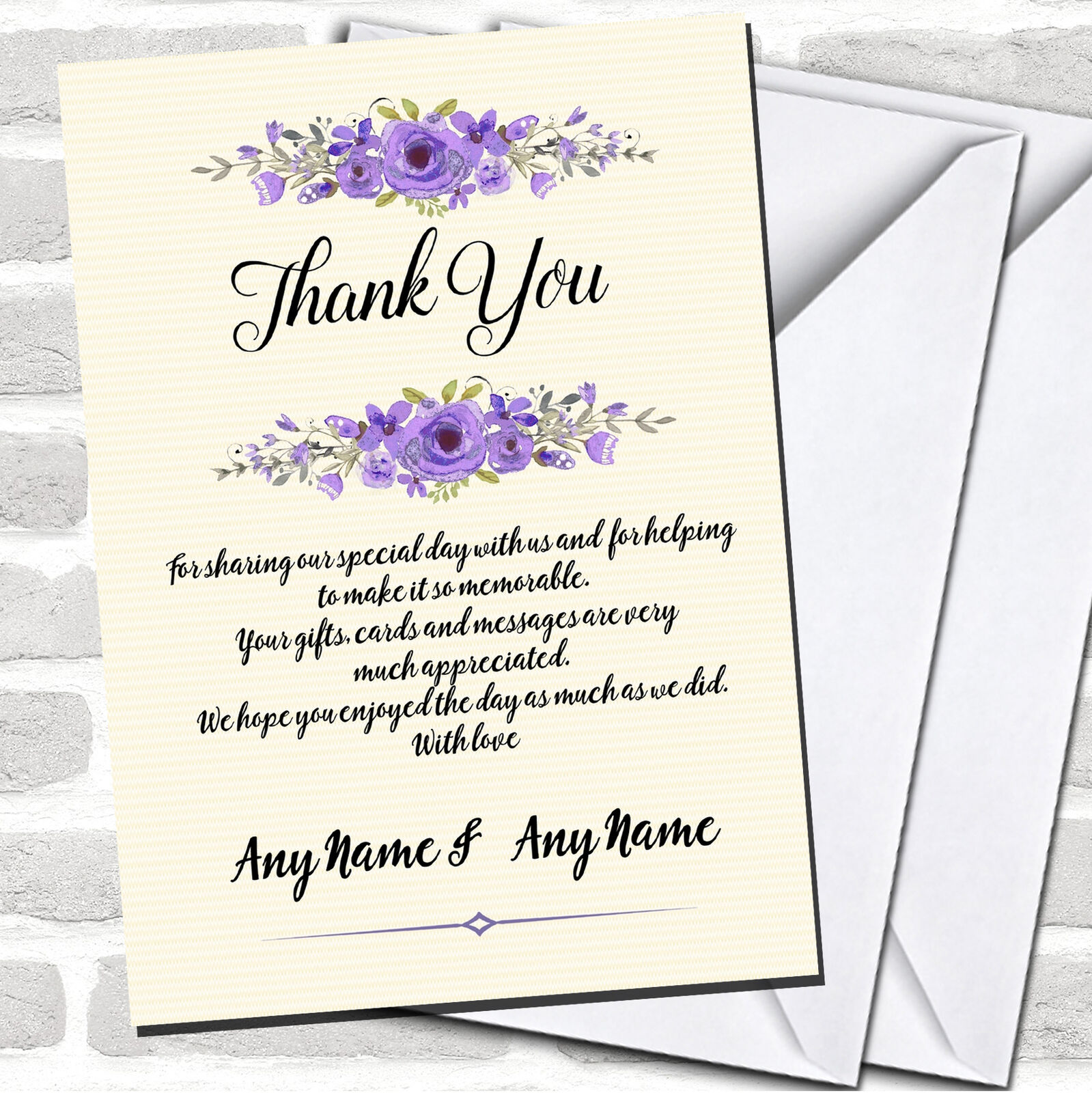 Watercolour lila Floral Rustic Wedding Thank You Cards