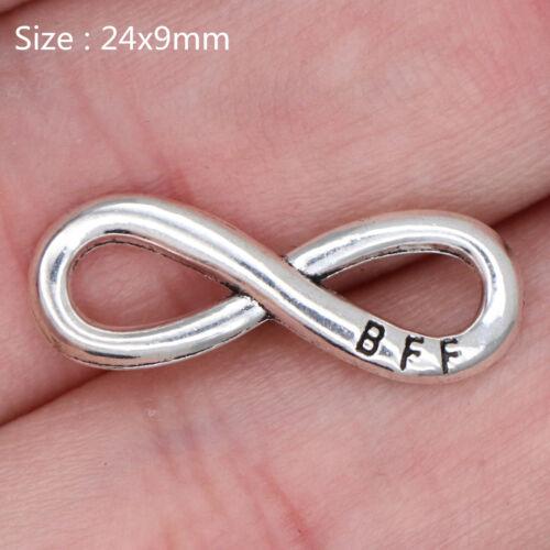 15//80Pcs Tibetan Silver Best Friend Forever Charms Pendants DIY Jewelry 24*9mm