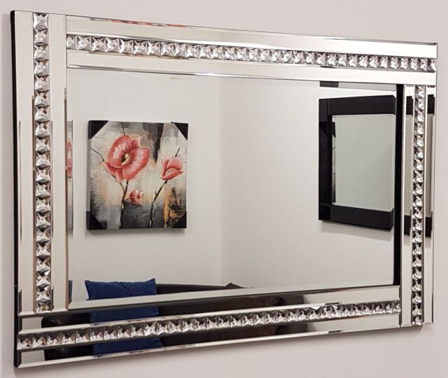 "Alma Crystal Glass Frame Silver Bevelled Wall Mirror 60cm x 80cm 24""x32"" Large"