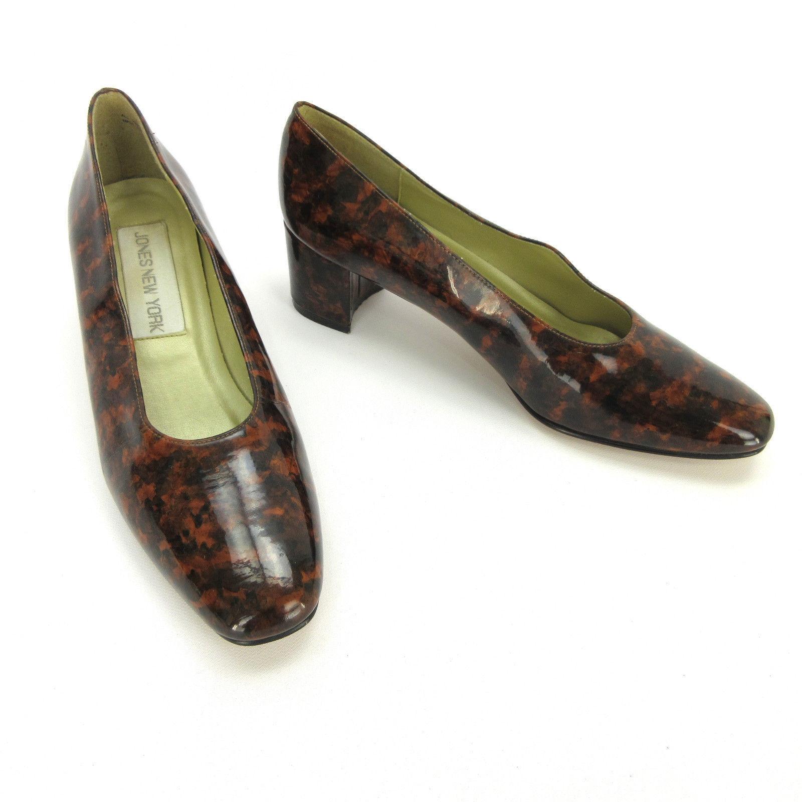 Jones New York Womens Heels 9 M M 9 Brown Tortoise Patent Square Toe Pumps Slip Ons 7e92b7