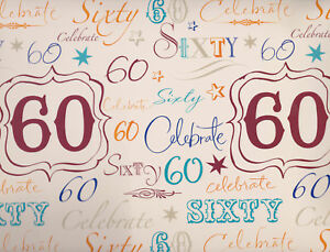 Image Is Loading 1 Sheet 60th Birthday Gift Wrap Wrapping Paper