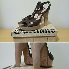 John Galliano Size 6.5 UK Newspaper Print Wooden Heels Shoes Brown Leather 10.5