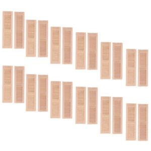 12pcs Unpainted 1//12 Wood Shutters Doll House DIY Window Furniture Room Item