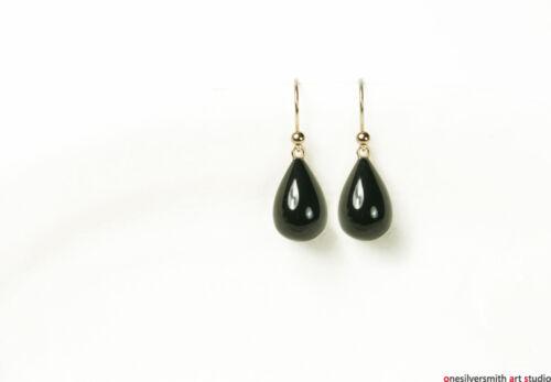 Pure 18k 14k Solid Gold Black Onyx Waterdrop Dangle Earrings Hook or Leverback