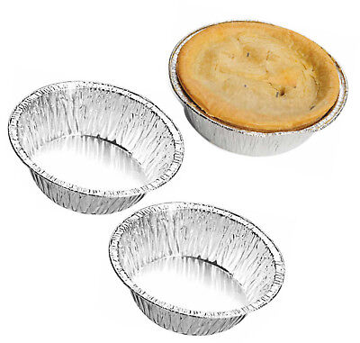 100 x Small Aluminium Foil Dishes Steak Pie Round Quiche ...
